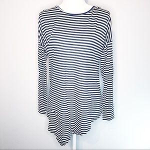 CAbi Navy White Striped Asymmetrical Hem Tee